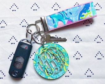 Lilly Pulitzer Mermaid's Cove Key Fob Wristlet (1.25 inches wide, 5.5 inches long)