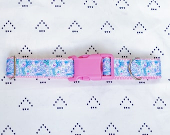 Lilly Pulitzer Mermaid's Cove Adjustable Dog Collar (X-Small, Small, Medium, Large)