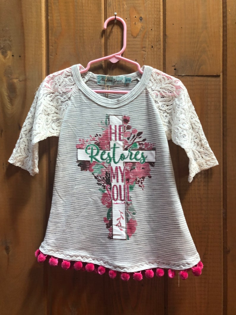 Religious Girl/'s Graphic T-Shirt,on a Striped Raglan with  Cream Lace Sleeves sizes 2-3 to 10-12 Upcyled with Pom Poms
