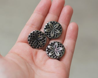 Vintage Glass Black and Silver Buttons