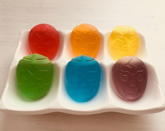 Set of 6 Luchador (Mexican wrestler) Soaps - Transparent Rainbow