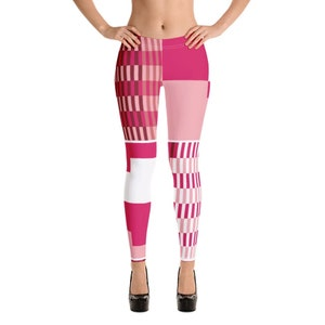 Kente Print-Leggings-Pink-African-Afrocentric-womens-clothing-work out clothes-yoga-athletic gear-ladies-tights-African prints