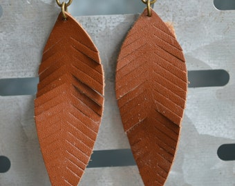 Brown Feather Faux Leather Earrings