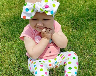 857d861800b9 Colorful Polka Dot Leggings and Top Knot Headband Set / Baby Girl Clothes /  Newborn Girl Coming Home Outfit/ Preemie, Newborn, Baby, Toddler