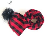 Red Buffalo Plaid Fur Pom Pom Beanie and Infinity Scarf Set Winter Fall Outfit Newborn, Baby, Toddler, Adult Slouchy Pompom Hat Set