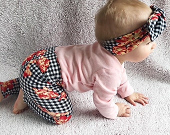31b4ba9efddb Floral on Black Plaid Leggings and Top Knot Headband / Baby Girl Clothes /  Newborn Girl Coming Home Outfit / Preemie,Newborn,Baby,Toddler