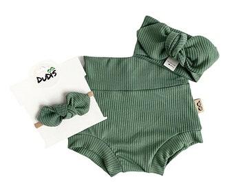 Sage Green Bloomer Headband Set sage Green Baby