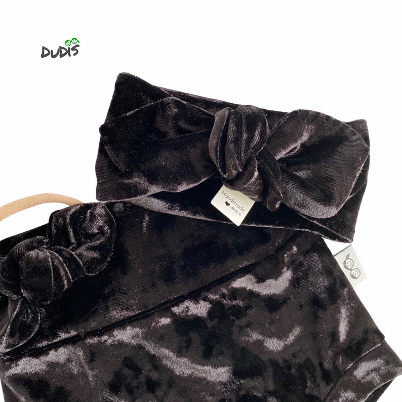 Toddler High Waist Shorts Black Velvet Bummy and Top Knot Headband Set Baby Girl Christmas Outfit Baby Diaper Cover