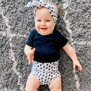 Baby Girl Clothes Cute High Waisted Shorts Toddler Diaper Cover Black Dashes on White Bummies and Tiny Knot or Top Knot Headband Set