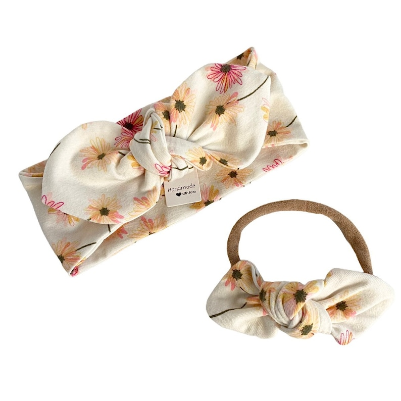 Baby Pants /& Bows Newborn Coming Home Outfit Cream Floral Leggings and Top Knot Headbands Set Preemie Girl Clothes