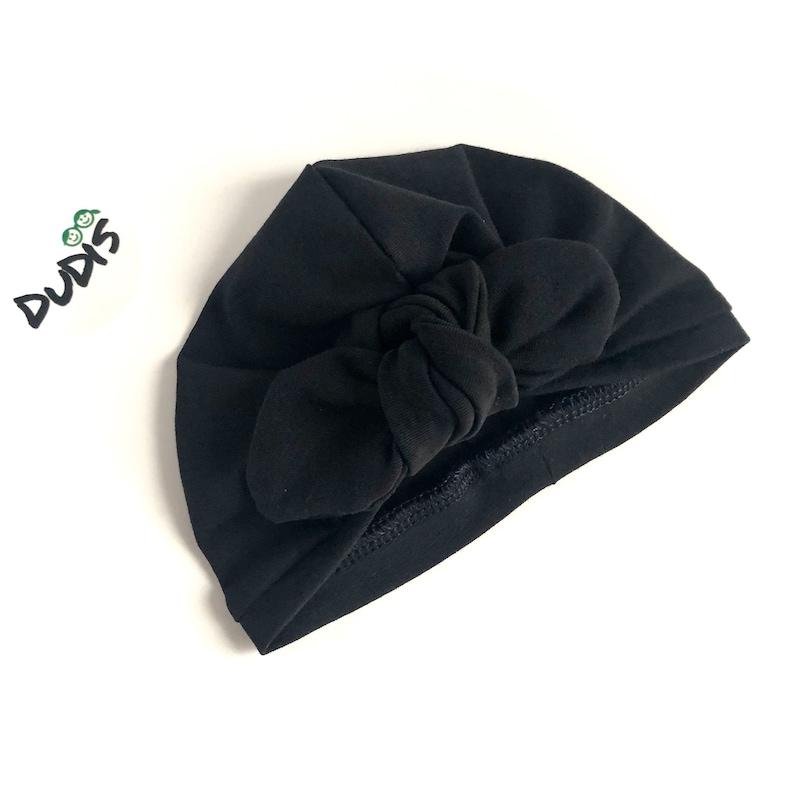 Toddler Top Knot Headwrap Cute Newborn Preemie Hospital Bow Hat U CHOOSE COLOR Baby Girl Black Turban Hat
