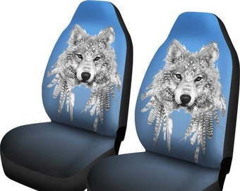 Wolf Spirit Animal Car Seat Covers And Floor Mats