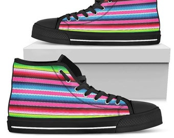 a82390a80d4b Mexican Blanket Print Canvas High Top Shoes