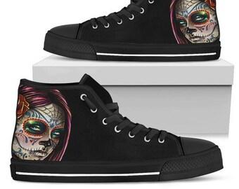 7bd0f2f2cfbd01 Sugar Skull Canvas High Top Shoes