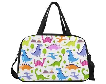 Dinosaur Lovers Canvas HandbagSaddle Bag Leather Trim Crossbody Strap