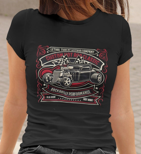 Drag-Ons All Go-No Sho Hot Rod Car Club T Shirt Black Graphic Rockabilly