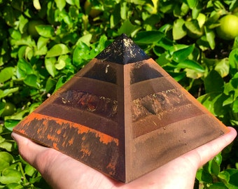 8 Sided Orgone Pyramid - Autumn Grounder Giza - EMF Shield - with Obsidian, Carnelian, Pyrite, Topaz, Atomized Metals and More