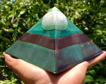 8 Sided Orgone Pyramid - Alger Golf Landscape Giza - EMF Shield - with Calcite, Shungite, Rochelle Salts, Atomized Metals and More