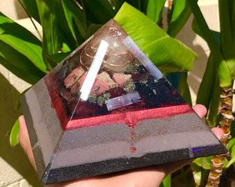 8 Sided Orgone Pyramid - Jasper Vortex w/ Rhodonite, Selenite, Pyrite, Black Obsidian, Atomized Metals, Shungite and More!