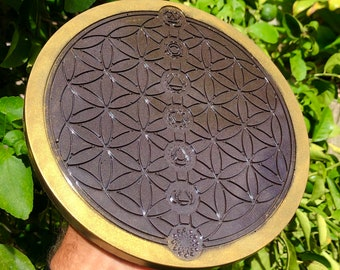 Orgone Charging Plates 8.5 inch 24K Gold Flower of Life for Charging Food, Water, Plants, Books and Anything Imaginable!