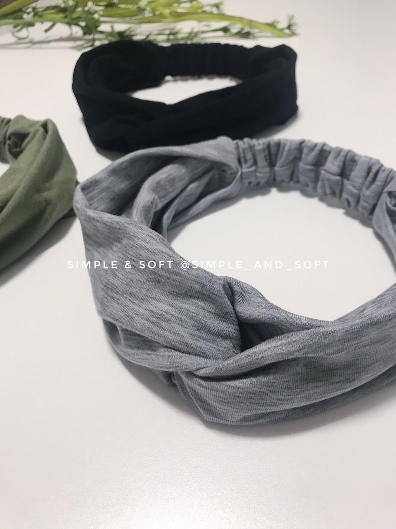 Ear Saver Elastic Head Wrap Hair Accessories Gift for Women Black Olive Green Heather Grey Twisted Adult Headband