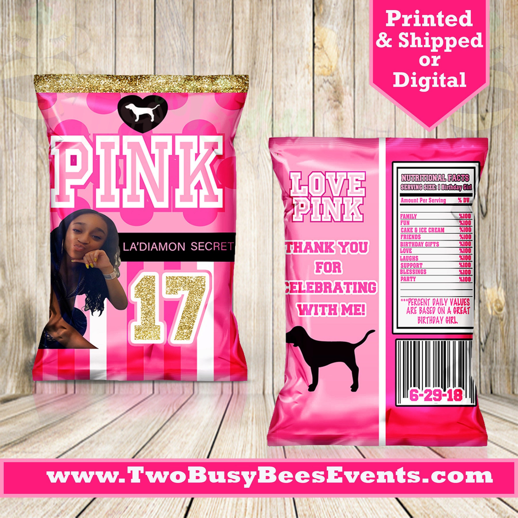 Victorias Secret Pink Inspired Chip Bags Victoria
