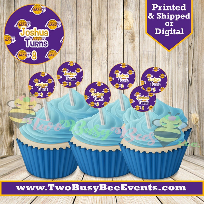 Lakers Cupcake Toppers Lakers Birthday Basketball Party Etsy