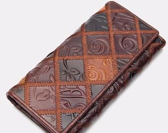 Genuine Leather Women Clutch Vintage Flower Wallet