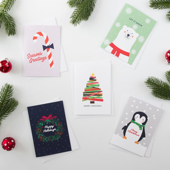 Christmas New Years Holiday Season Greetings 12 Boxed Cards W//Envelopes CandyCan