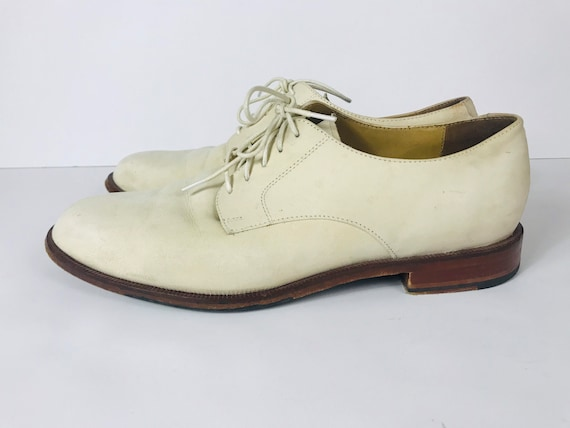 Mens 10 Used White Bucks Suede Rockabilly Shoes - image 7
