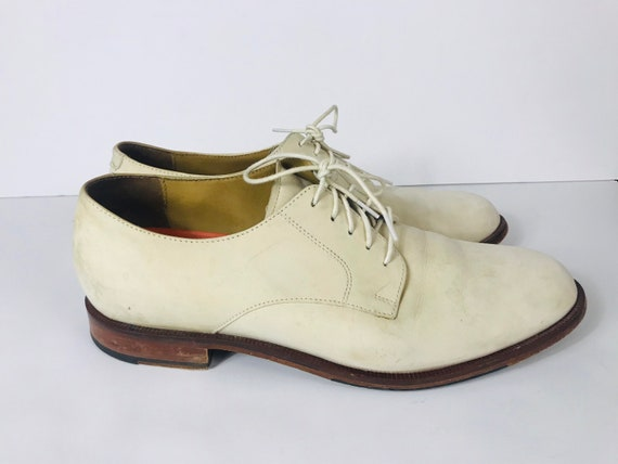 Mens 10 Used White Bucks Suede Rockabilly Shoes - image 4
