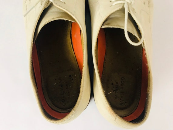 Mens 10 Used White Bucks Suede Rockabilly Shoes - image 5