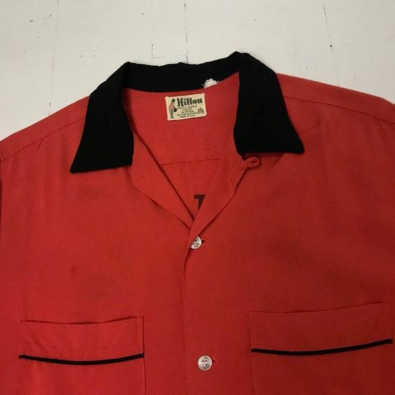 Vinatge 1950s Medium Rayon Bowling Shirt Rockabill
