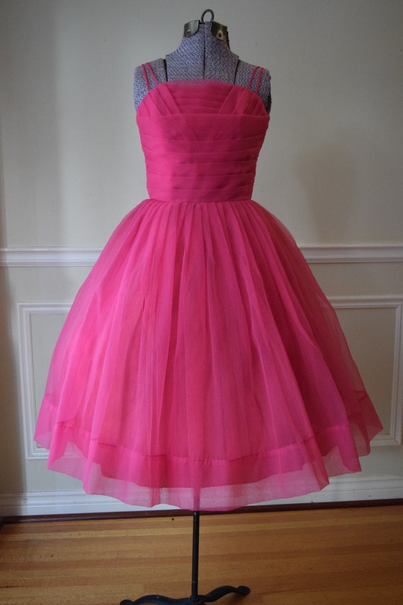 Vintage 1950s Bright Pink Tulle Dress
