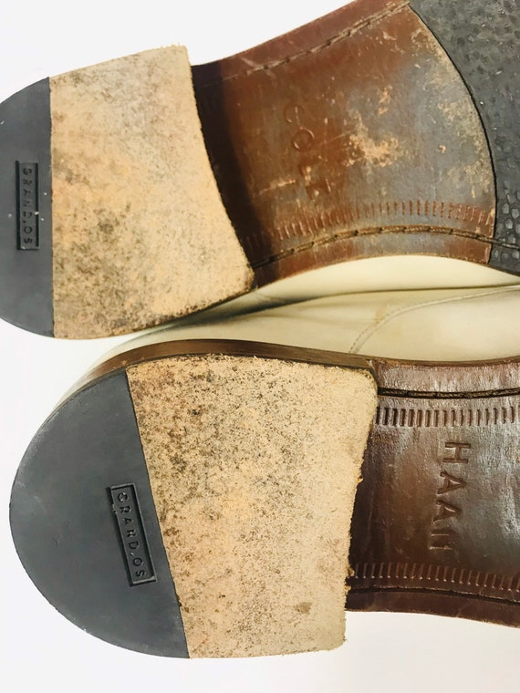 Mens 10 Used White Bucks Suede Rockabilly Shoes - image 3