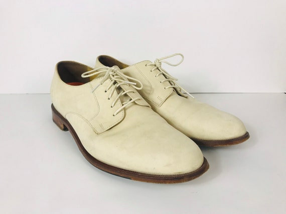 Mens 10 Used White Bucks Suede Rockabilly Shoes