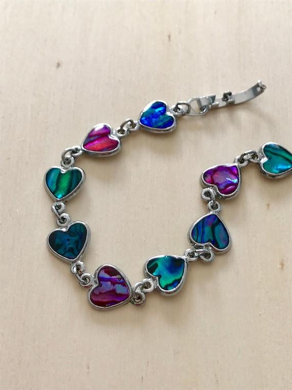 Small Heart Shape BLUE PAUA ABALONE SHELL /& 925 Sterling Silver Earrings