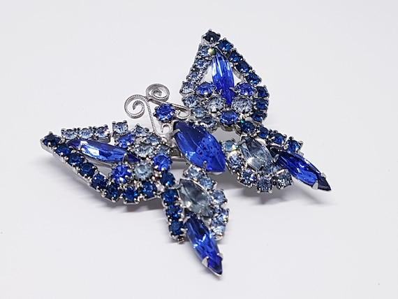 Large Statement Blue Rhinestone Butterfly Brooch Pin A155