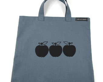 SMALL SHOPPING BAG ÄPFEL , blue-grey