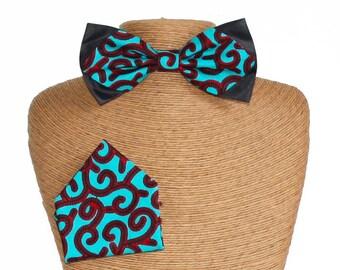 Bow tie Wax slim & green Pocket square