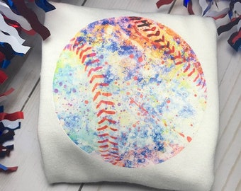 Watercolor baseball Tee, Paint splatter, Watercolor Baseball