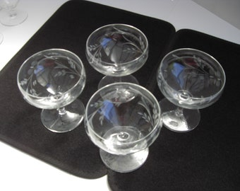 Etched Crystal Champagne Glasses - Set of 4