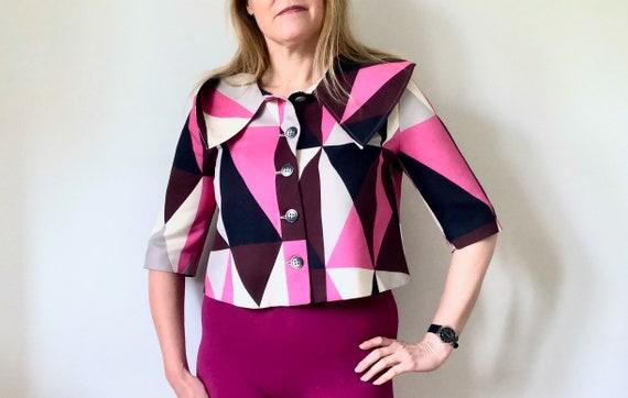 MARIMEKKO Vintage Blazer, Pink and black Cropped … - image 2