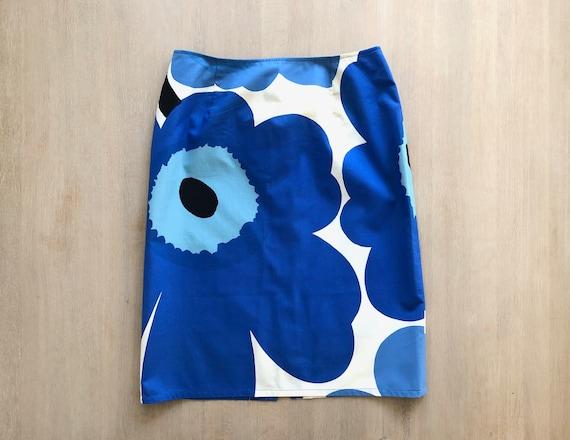 Blue MARIMEKKO Unikko Vintage Skirt, Floral Poppy