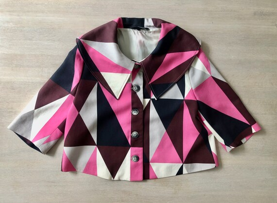 MARIMEKKO Vintage Blazer, Pink and black Cropped … - image 5