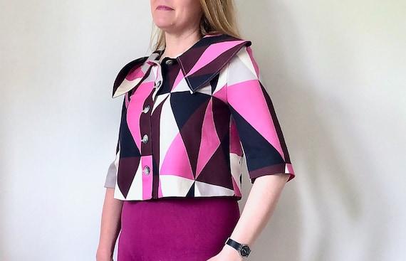 MARIMEKKO Vintage Blazer, Pink and black Cropped … - image 1