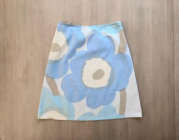Vintage MARIMEKKO Unikko Skirt, Light Blue Poppy P