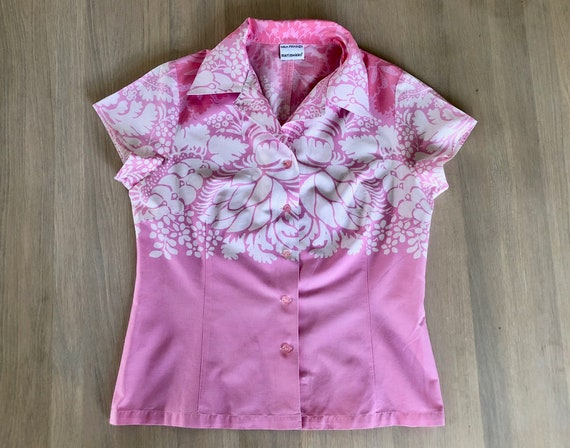 Pink MARIMEKKO Button Down Shirt, Floral short sle