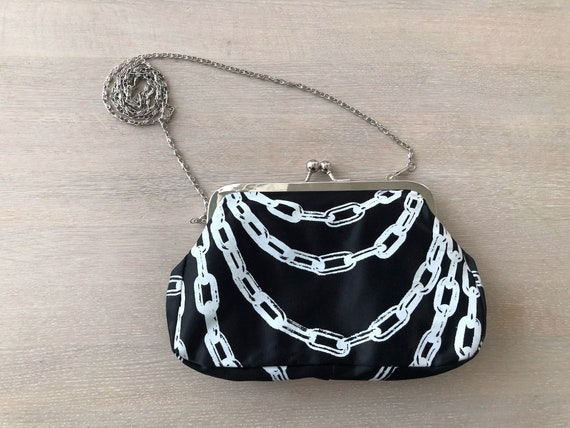 Small Black Evening Clutch bag with Chain Print by