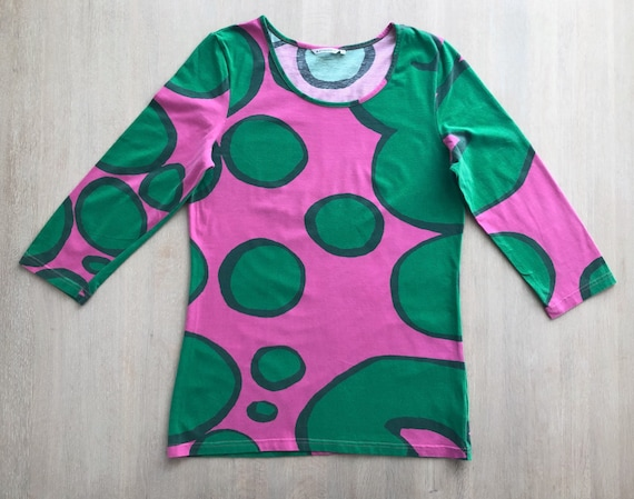 MARIMEKKO Vintage Tunic Top, Pink and Green Funky